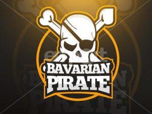 Totenkopf mit gekreuzten Knochen als Logo für den Gaming Channel von Bavarian Pirate